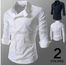 2014 New Spring Fashion Personality  Oblique Buckle buckle Shirt casual long-sleeved men shirt BS88