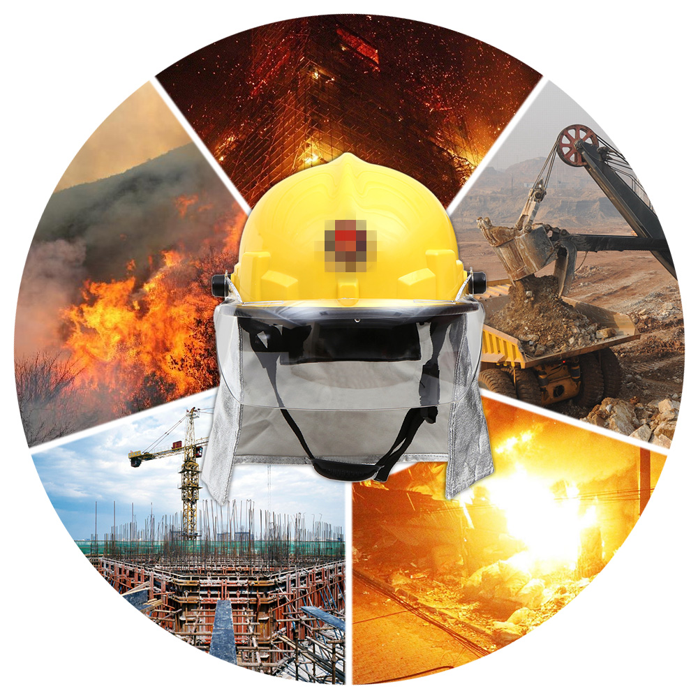 Fire Fighting Helmet Safety Working Helme Fire Proof Fireman Helmet With Google Amice Electric Shock Prevention Flame-retardant