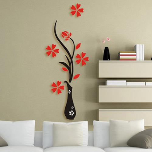 Wholesale diy home room decor 3d vase flower tree wall sticker removable decal 30x80cm store 48 Diy home decor flower vase