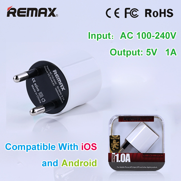 REMAX EU Standard Plug 5V 1A USB Phone Charger for iPhone Portable Wall / Travel Charger Adapter for Samsung / LG / HTC / Huawei(China (Mainland))