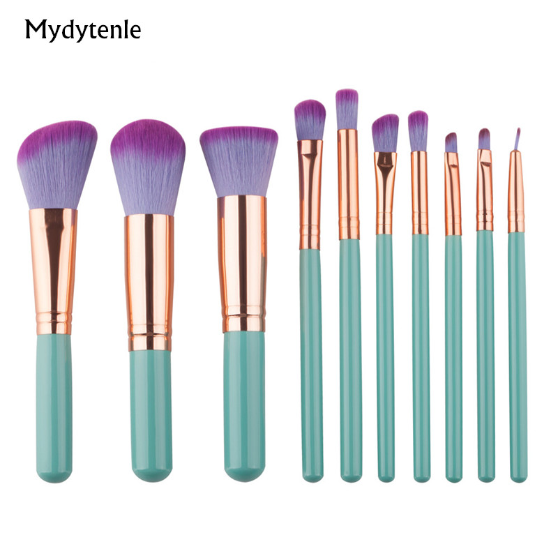 2017 New Beauty Mint Green Golden Makeup Brushes Set Powder Foundation Eyeshadow Eyeliner Lip Make up Brush Kit Tool Maquiagem(China (Mainland))
