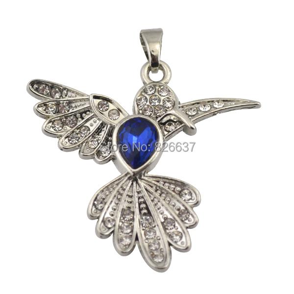Special Design 10pcs/lot Zinc Alloy Rhodium Plated Lead&Nickle Free Blue Crystal Hummingbird Pendants(China (Mainland))