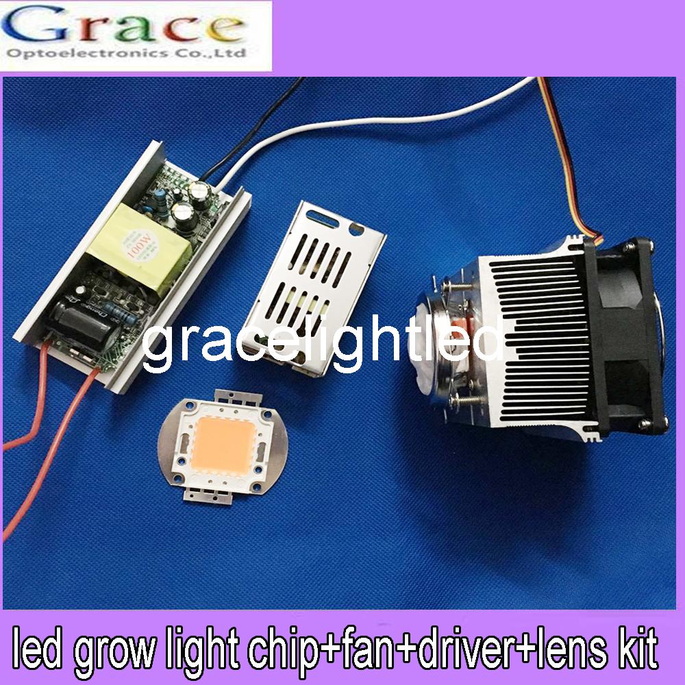 100W DIY led grow light 380-840nm kit,100W LED +diver+heatsink +60Degree lens(China (Mainland))