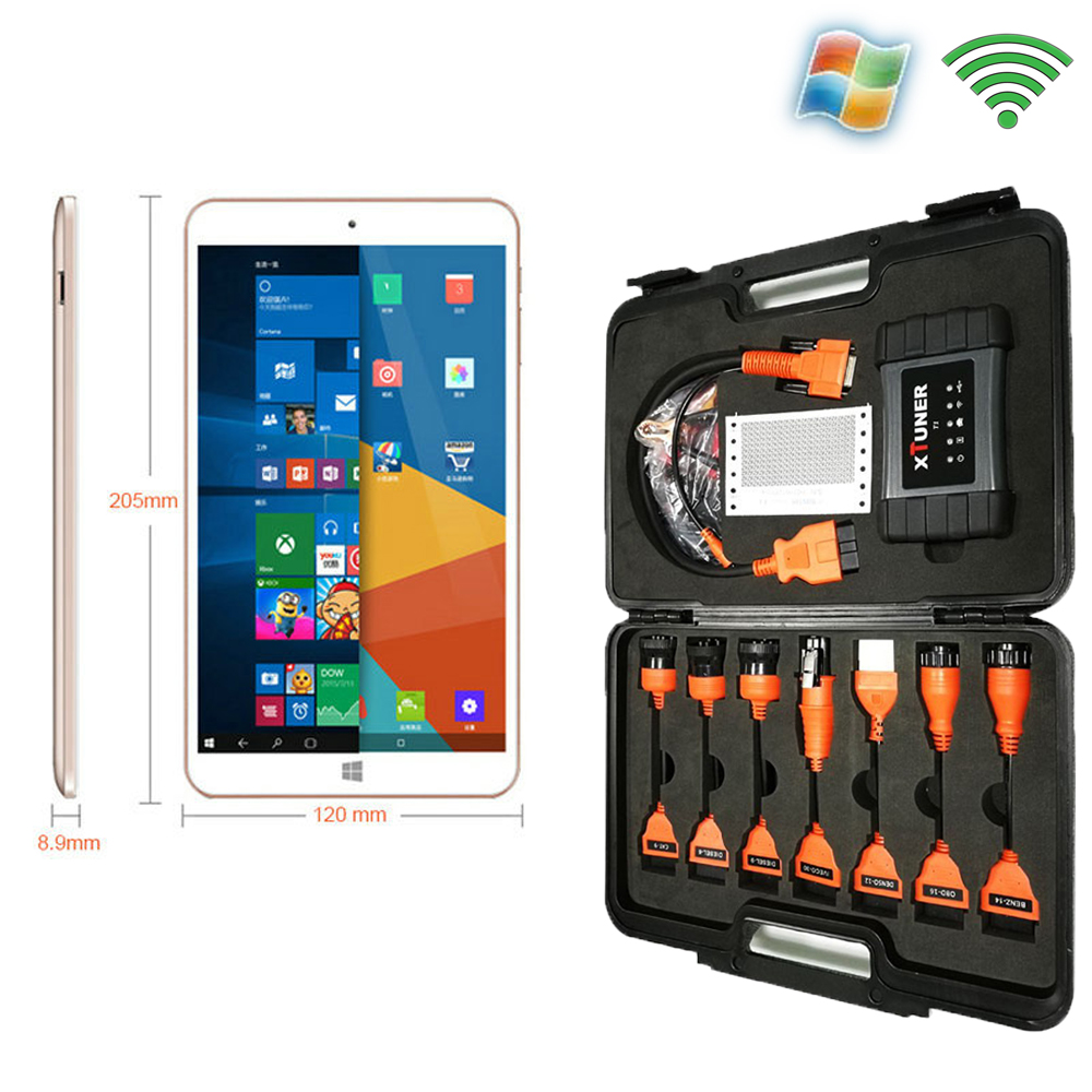 WIN10 Tablet Pre Install Truck Diagnostic Software XTUNER T1 HD Heavy Duty Trucks Auto Diagnostic Tool Suitcase All In One(China (Mainland))