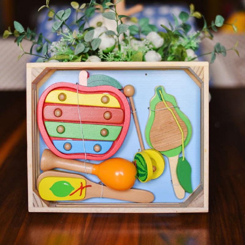 Kid's Soft Montessori Wooden Toy Musical Instrument Set For Infant Playing Educational Toy Hight Quanlity With Wooden box(China (Mainland))