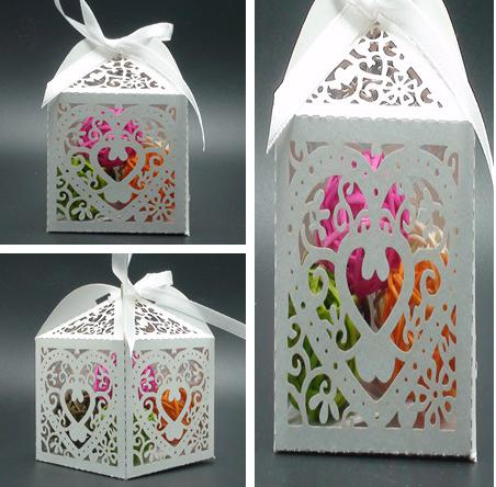 100 PCS New Love Heart Laser Cut Candy Gift Boxes With Ribbon Wedding Party Favor