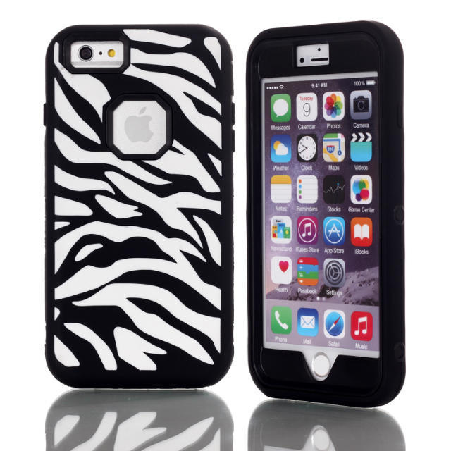 """Absorbing Zebra Phone Cases 3 in 1 Hybrid Case Cover for iPhone 6 plus Cute Case for iPhone 6 plus 5.5"""" Free Shipping(China (Mainland))"""