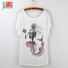 Buy Cartoon Mermaid Print 2017 Casual Summer White T-Shirt Women Tops Camisetas Mujer T Shirt Harajuku Short Sleeve Tees Shirt Femme for $5.12 in AliExpress store