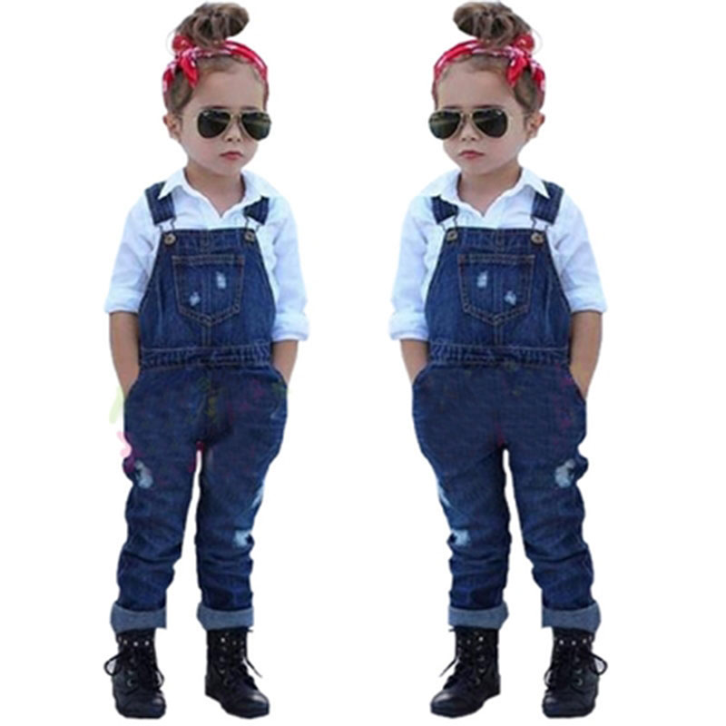 retail 2016 summer new arrival girls clothing set shirt+ jeans 2pcs kids girl clothes suits childrens clothing(China (Mainland))