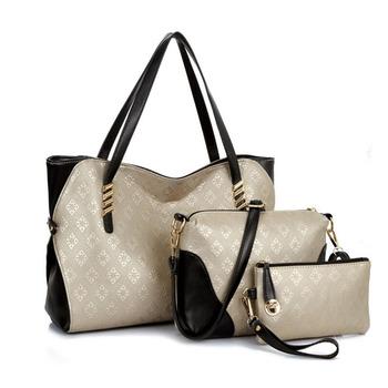 New 2016 Women Handbags Leather Handbag Female Shoulder Tote Ladies Brand Design Bag Handbag+Messenger Bag+Purse Clutches 3 Sets
