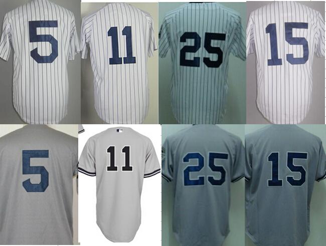 NYY 15 Thurman Munson 25 Mark Teixeira 11 Brett Gardner 5 Joe DiMaggio Jersey White Striped Gray Jerseys size S small - 4xl 58(China (Mainland))