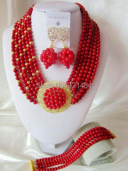 Fashion Nigerian African Wedding Beads Jewelry Set Coral Necklace Bracelet Earrings CRB-1285<br><br>Aliexpress