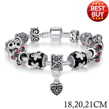 2016 Russia Belarus Popular 925 Silver Heart Charm Bracelet & Bangle With Glass Beads Jewelry PA1034(China (Mainland))