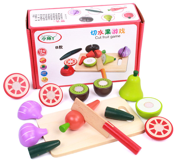 Baby Toys Velcro Fruit/Vegetable Pretend Play Wooden Toys Food Sets Educational Kitchen Toys Child Birthday / Christmas Gift