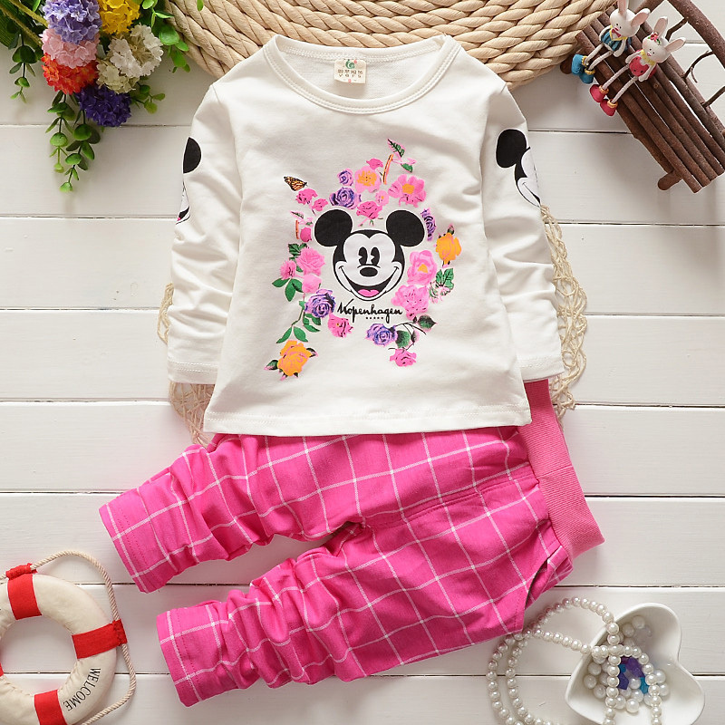 1-4Y girls clothing sets Mouse long sleeve T-shirt+Pink plaid pants suit Wholesale Spring and Autumn kids casual Sportswear set(China (Mainland))