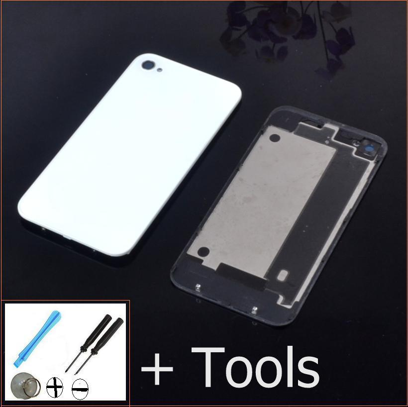 On Sale!Best quality mobile cell phone back glass battery housing door covers for iphone 4g 4s white & balck color +repair tools(China (Mainland))