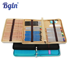 Bgln Canvas Pencils Pouch Bag 72 Holes Folded Brush Case With Zipper cartucheras para lapices Pocket Art Supplies(China (Mainland))