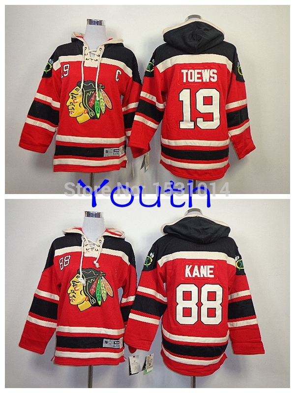 New Youth Wholesale Chicago Blackhawks Old Time Hockey Hoodie Kids #19 Janathan Toews #88 Patrick Kane Heavyweight Stitched Hood