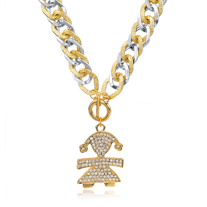 Fashion Austrian Crystal Girl Pendant Necklaces Women Vintage Gold Silver Link Chain Long Necklaces Statement Jewelry SNE150781(China (Mainland))