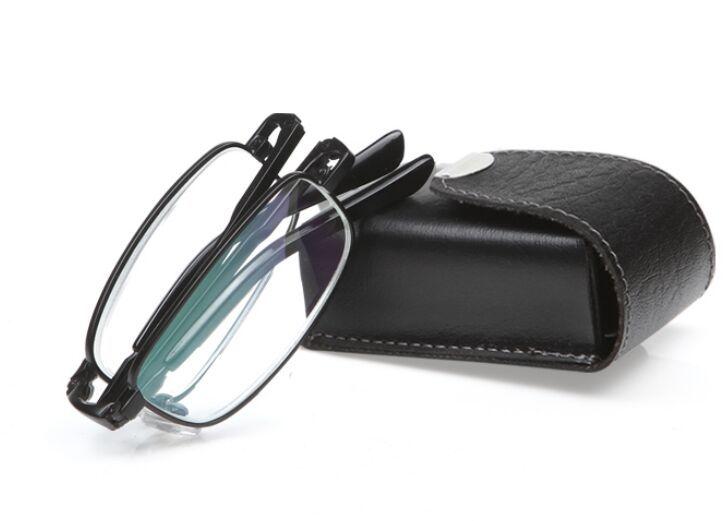 Leather Frame Reading Glasses : New Black Men Folding Reading Glasses With Leather Case ...