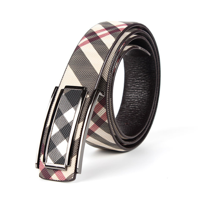 hot 2016 men's genuine leather business belt fashion belts for men Flower Plaid strap designer waistband pants accessory(China (Mainland))