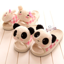 Cute cartoon panda doll massage mitts cotton slippers, men and women couple at home slipper shoes woman 2013(China (Mainland))