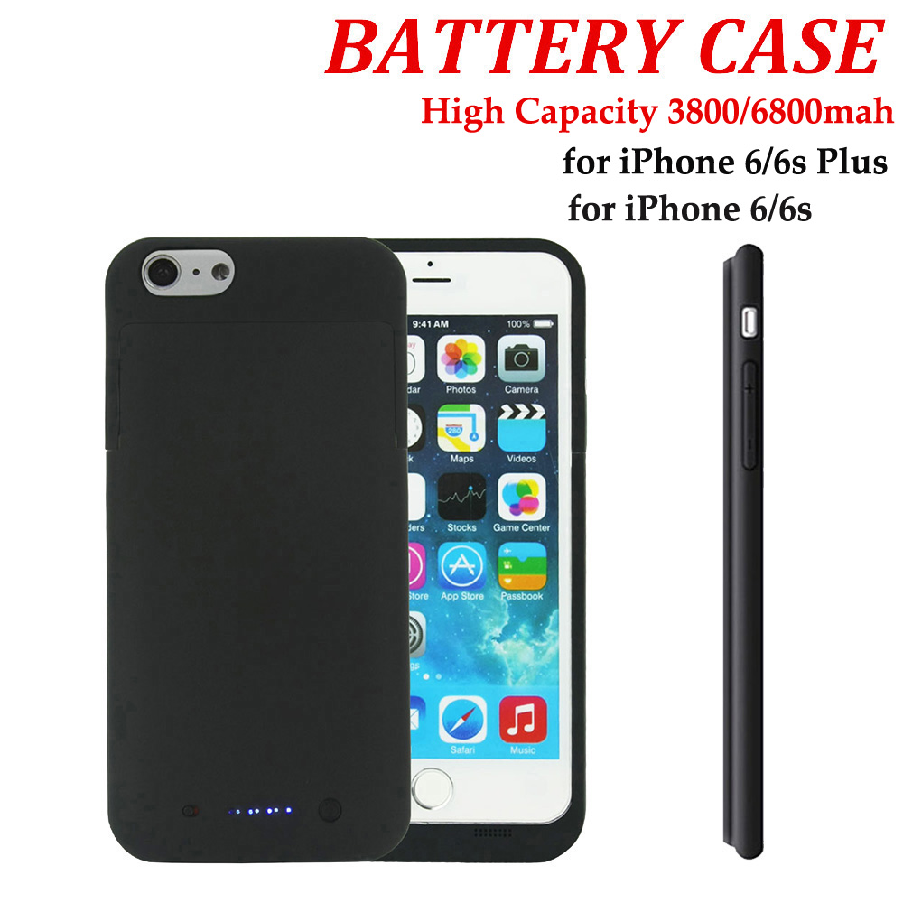 6800mAh/3800mAh Black Portable External Backup Battery Charger Power Bank Pack Case Cover for Apple iPhone 6 Plus 5.5/iPhone 6(China (Mainland))