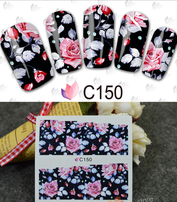 1 Sheet Japanese Beauty Flower Full Cover Water Transfer Nail Stickers Nails Decal Foil Wraps DIY Styling Tools #BLE C148-151(China (Mainland))