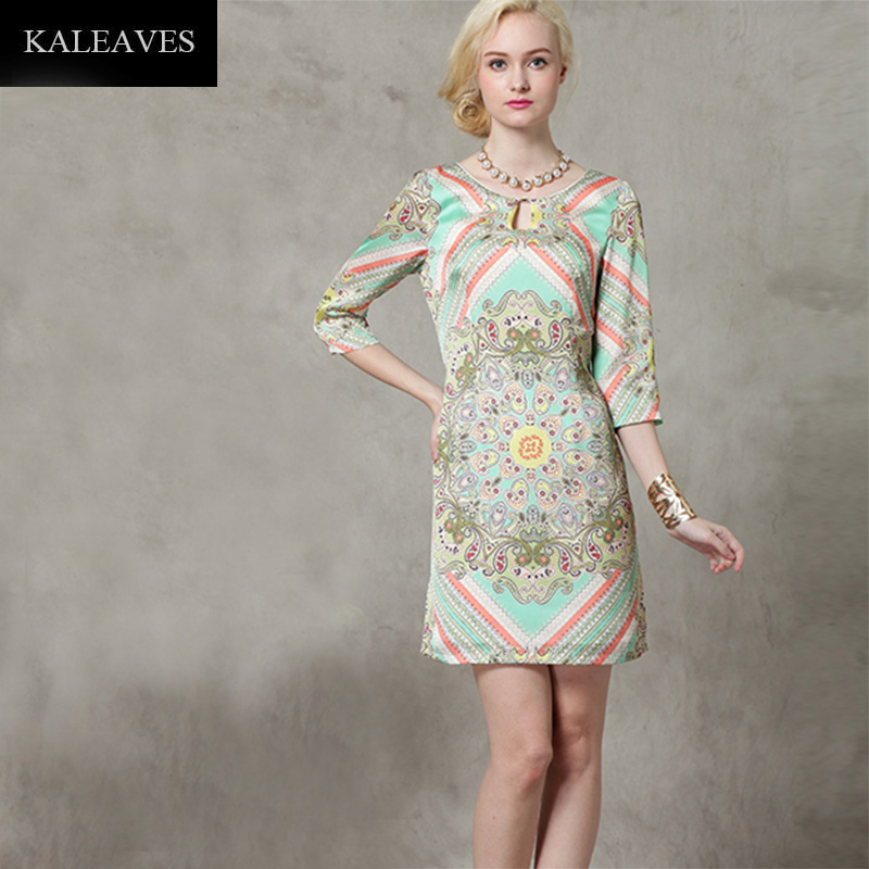 2016 Spring Summer Women Vintage Ethnic Dress Fashion Brand High Quality Three Quarter Above Knee Geometric Silk Print Vestido(China (Mainland))