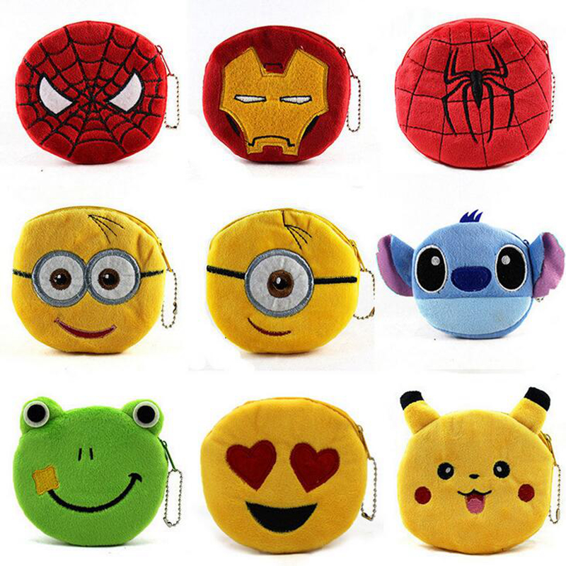Cute Cartoon Plush Coin Purse Children Zipper Change Purse Wallet Spider Man Hello Kitty Minions Pouch Bag For Kids Women Gift(China (Mainland))