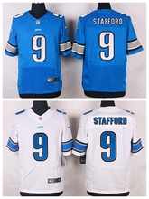Detroit Lions #9 Matthew Stafford Elite White and Light Blue Team Color free shipping(China (Mainland))
