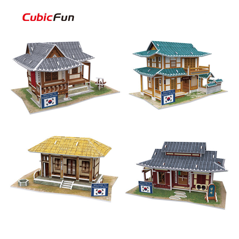 Cubic Fun 3D Puzzle DIY World Style Paperboard Toy, Architectural Features Korea Flavor 3D Puzzle Model, Kids Toys(China (Mainland))