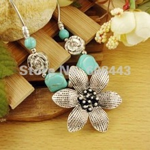 NR099 Flower Turquoise Stone Pendant Tibetan Silver Chocker vintage Collar Necklace chain Jewelry Jewellery Bijouterie for Women(China (Mainland))