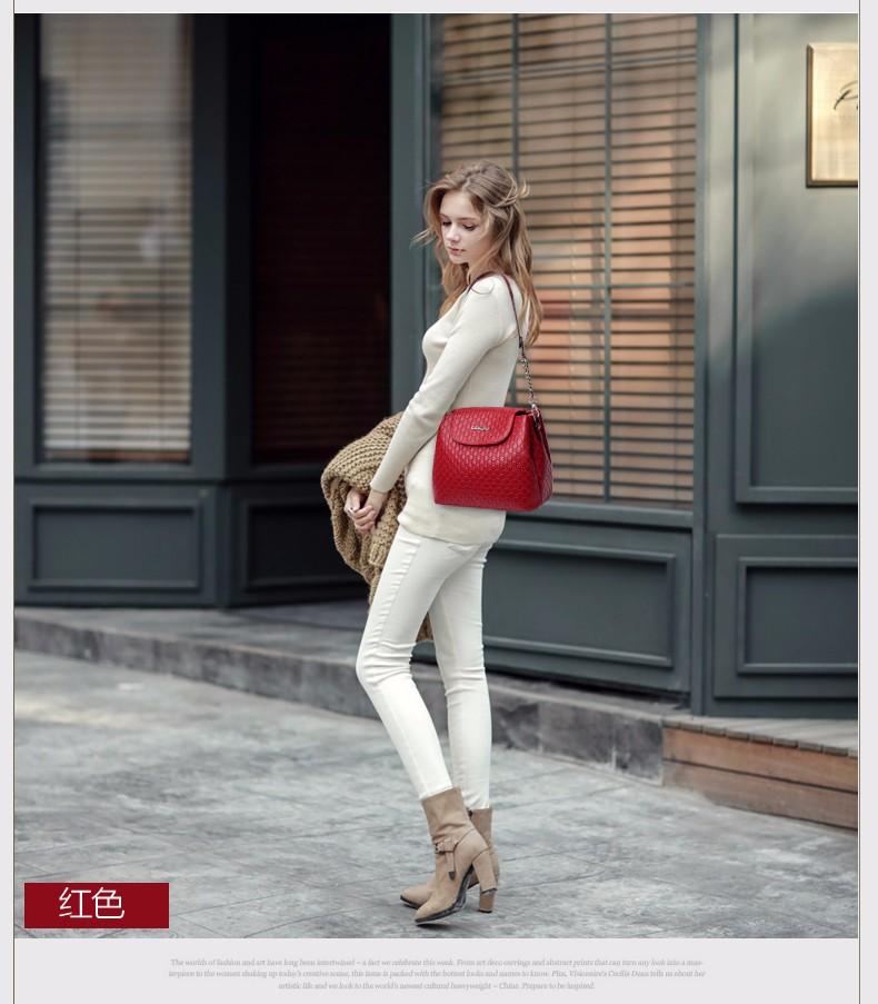 Classic Trendy Bucket Bag Embossed Leather Women Plaid Shoulder Bag All-match Elegant Ladies Chain Shoulder/Crossbody Bag