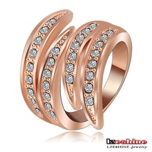 Newest Angel's Wing Engagement Rings With 18K Rose Gold Plating and Pave Czech Crystals Fashion Jewelry Ri-HQ0063