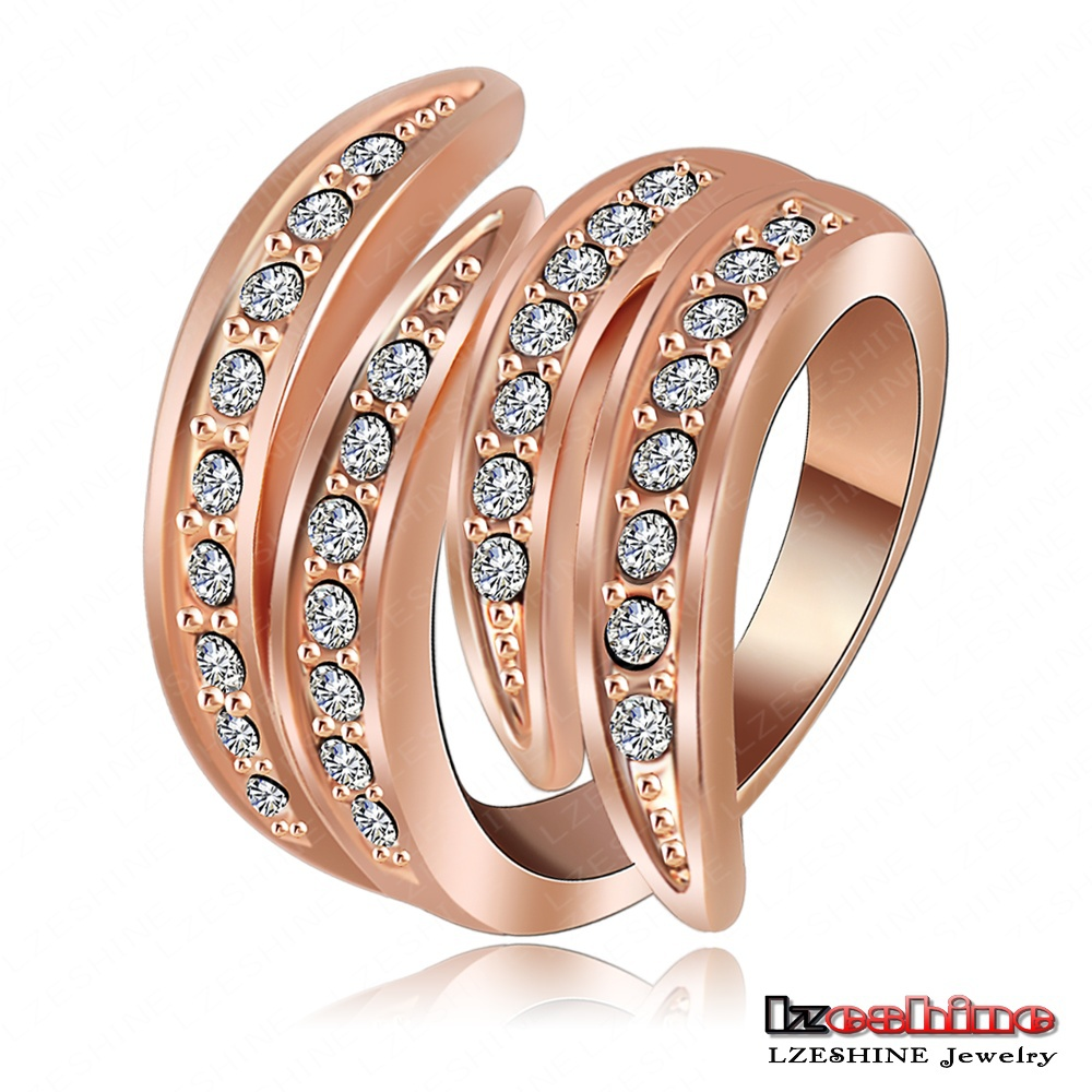 LZESHINE Newest Angel's Wing Engagement Rings 18K Rose Gold Plating and Pave Czech Crystals Fashion Jewelry anillos Ri-HQ0063(China (Mainland))