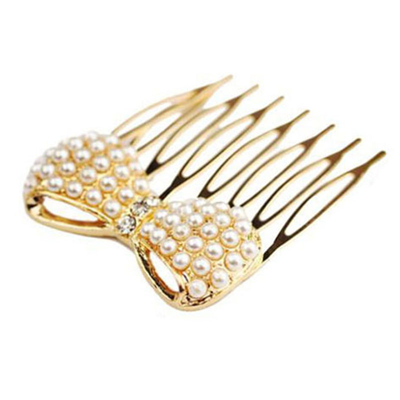 Hot Sales Fashion Simulation Pearl Bow Insert Comb Hair Comb Bangs Jewelry Accessories Headwear Pearl Hair comb 1F2015013(China (Mainland))