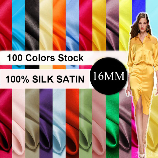 PURE SILK SATIN CHARMEUSE SILK FABRIC material for Bridesmaids Evening Dress 100colors