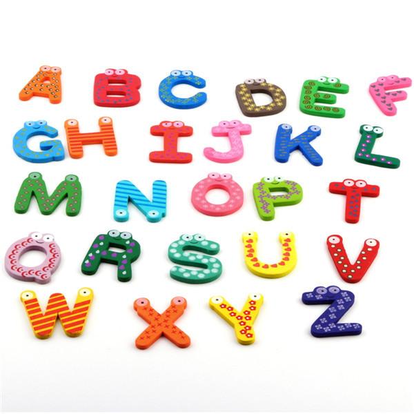 1set Wholesale Fridge Wooden Magnet Baby /Child Toy A-Z ABC Educational Alphabet 26 Letters(China (Mainland))