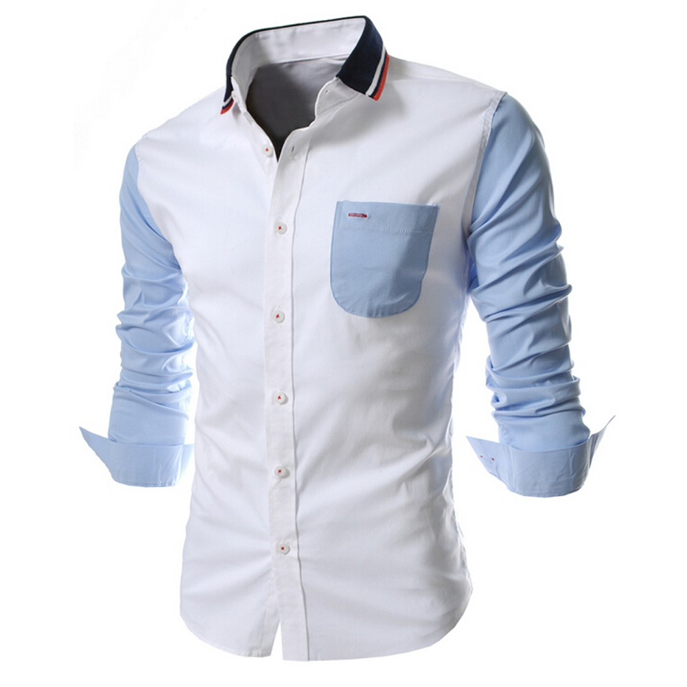 New Patchwork Unique Neckline Mens Dress Shirts Men Shirt Long Sleeve Slim Fit Social Shirts For Men L navy