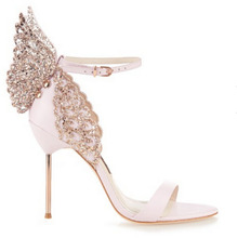 brand same design 2017 New women 10cm high heels sexy sandals rhinestone stereoscopic butterfly party shoes woman summer shose(China (Mainland))