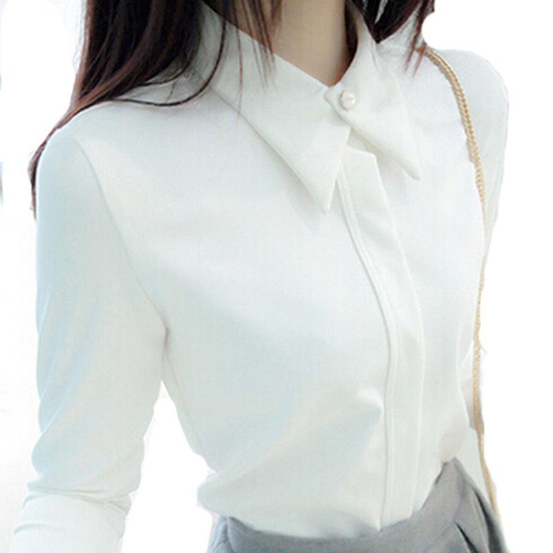 2014 Korean Long-Sleeved White Shirt Chiffon Blusas Femininas Women White Black Blue Blouses Elegant Woman Clothes(China (Mainland))
