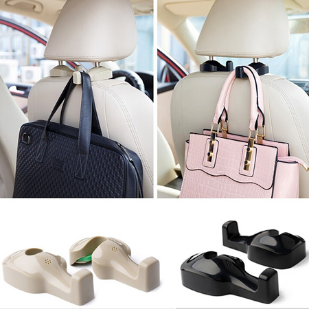 car headrest hanger auto fastener & clip 2 seconds mounting seat Bag organizer plastic hook holder/2 pcs 2015(China (Mainland))