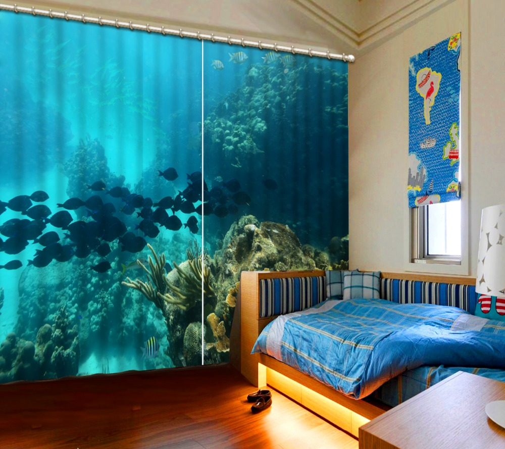 Curtains for bedroom 2016 - 2016 New Style Modern Luxury Curtains Custom Window Curtains For Living Room Curtains Underwater World 3d