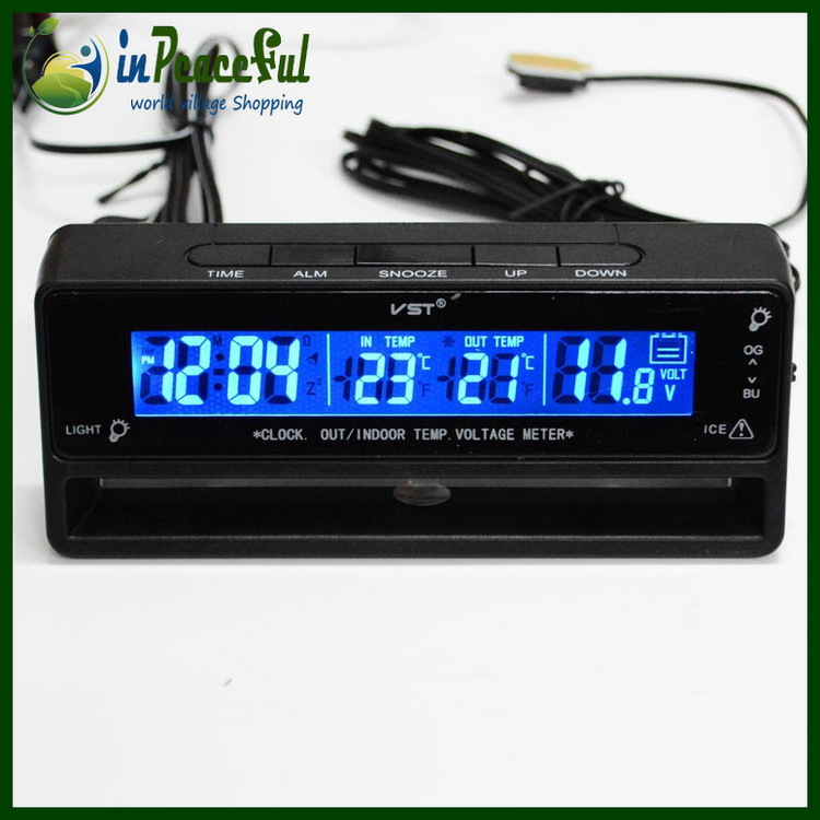 Гаджет  12V/24V Digital Auto car In/Out Thermometer 3in1 Digital Clock Screen Battery Voltage Temperature Monitor Meter with Batteries None Автомобили и Мотоциклы