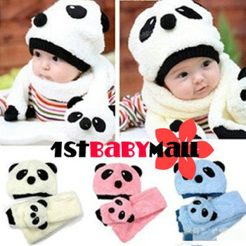 [1st Baby Mall] Retail one set baby boys/girls winter hat+scarf cartoon suit  panda caps/scarf infants hats M-BH-004