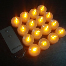 (16pcs candle+1pcs remote) Yellow Flickering LED Candle Light Remote Control Candle Battery Operated Tealight Candle Valentine(China (Mainland))