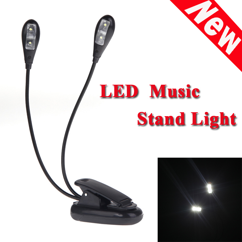 Hot Sale Black Clip-on 2 Dual Arms 4 LED Flexible Book Music Stand Light Lamp Guitar Parts & Accessories Top Quality(China (Mainland))
