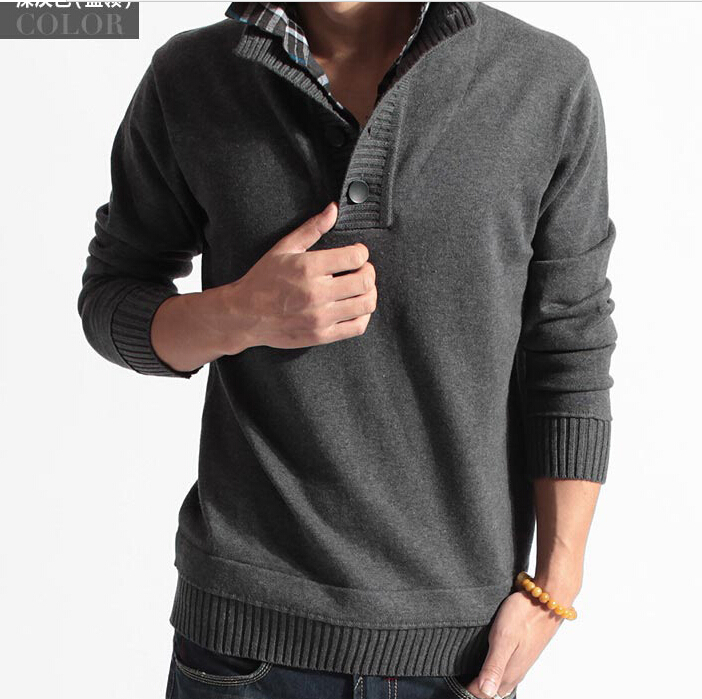 2014 autumn winter men's thick Korean faux two pullover pullover men brand new turtleneck desigual sweater(China (Mainland))