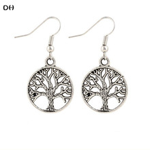 2016 Korea fashion jewelry The Tree Of Life lucky Drop Earing Vintage brincos Silver color statement earrings for women E1668(China (Mainland))